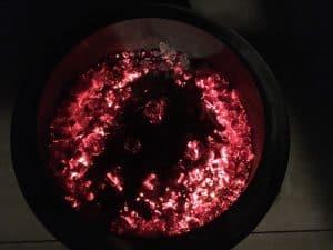 bonfire coals in a solo stove