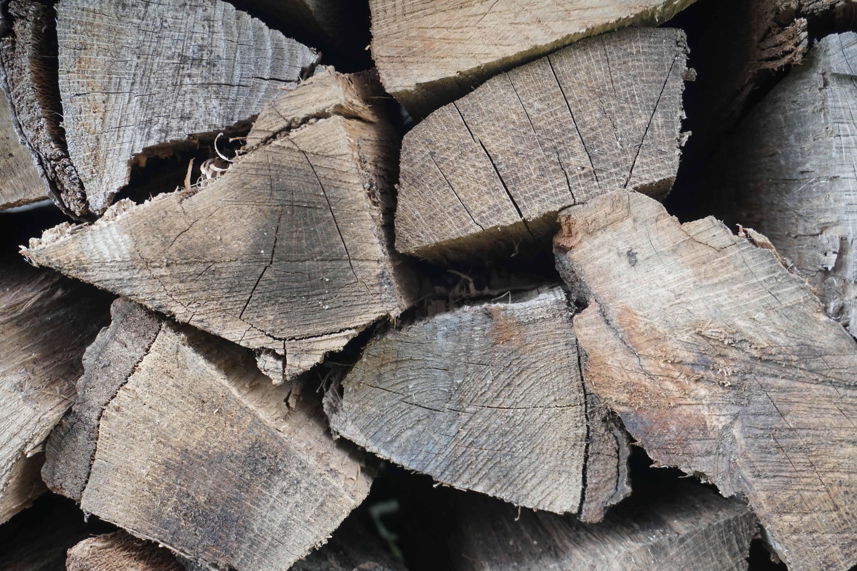seasoned firewood side detail