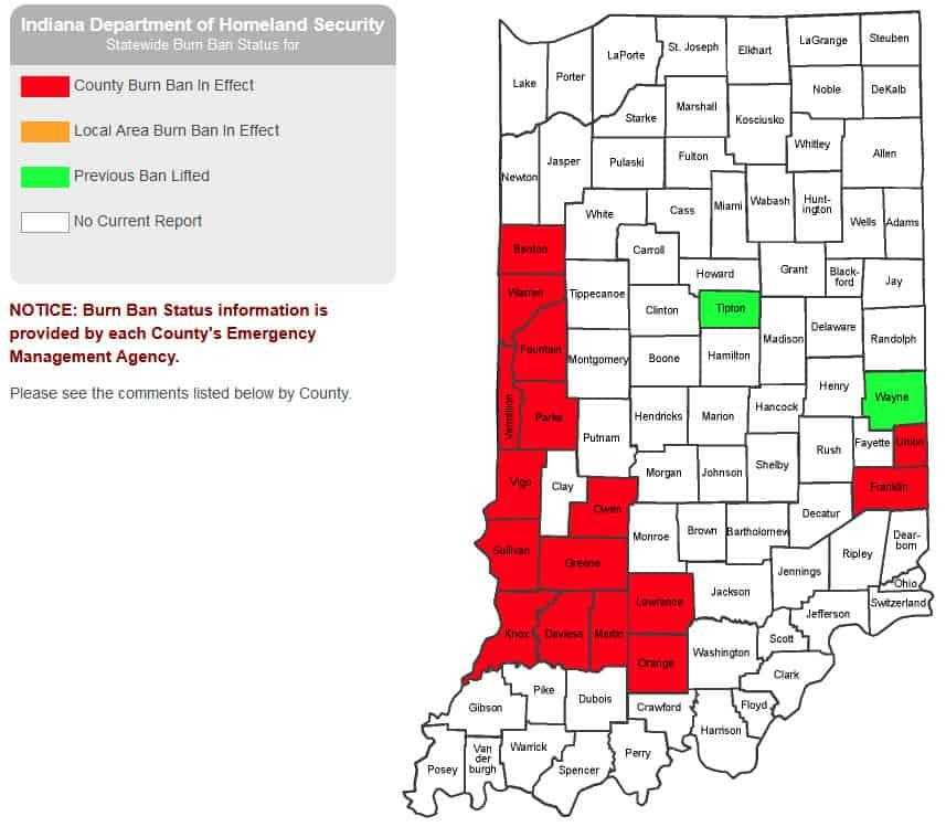 Indiana burn ban map of oct 2020